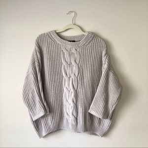 H&M   Gray Cable Knit Chunky Sweater